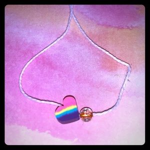 A rainbow heart bracelet! For kids and adults!